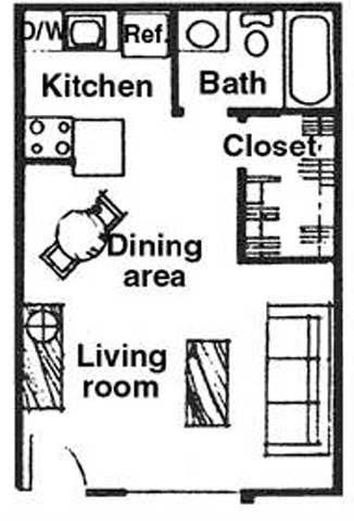 Floor Plan  Studio floor plan at River Oaks Apartments in Tucson, AZ, opens a dialog.
