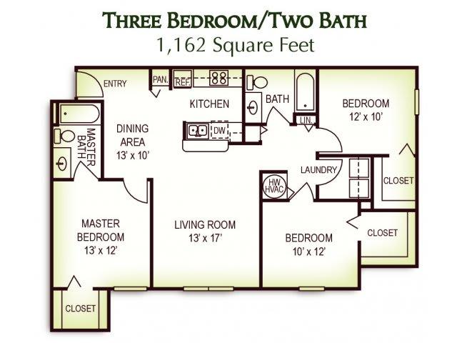 Floor Plan  3 Bedroom 2 Bath Floor Plan, 1,162 Square Feet, opens a dialog.