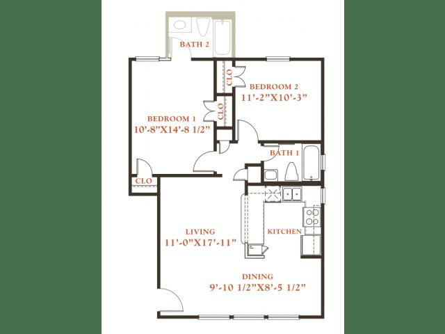 Floor Plan  Beech floor plan, 2 bedrooms 1 bath, 796 sqaure feet at Britain Way Apartments, opens a dialog.
