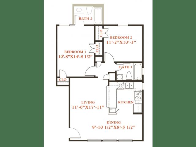 Floor Plan  Chestnut floor plan, 2 bedrooms 2 baths, 850 sqaure feet at Britain Way Apartments, opens a dialog.