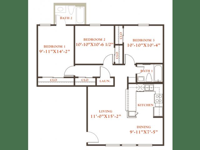 Floor Plan  Elm floor plan, 3 bedrooms 1 bath, 968 sqaure feet at Britain Way Apartments, opens a dialog.