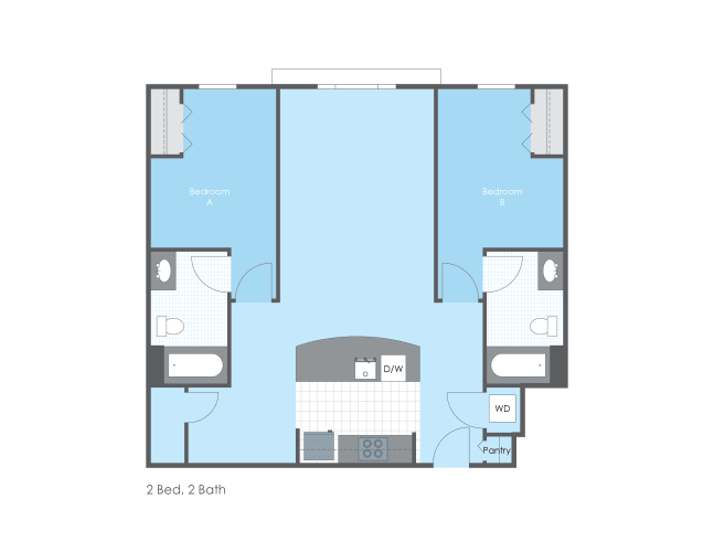 Floor Plan  Two bedroom and 2 bath floor plan.