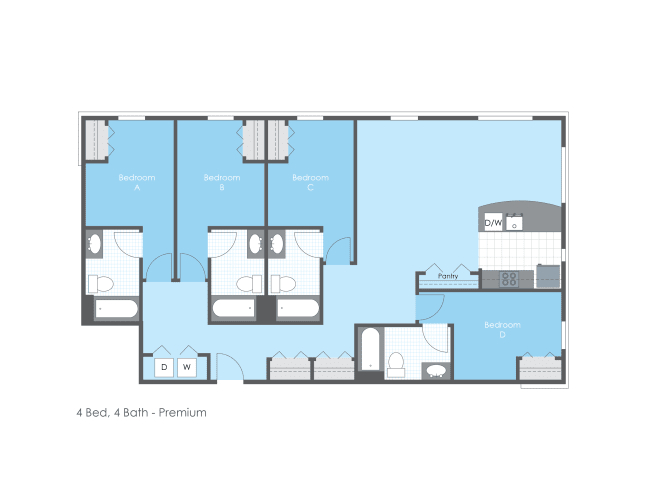 Floor Plan  4 Bed 4 Bath, Premium