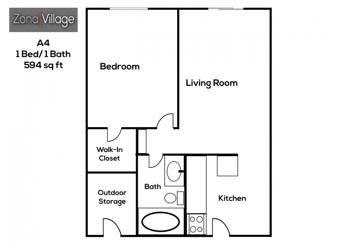 Floor Plan  1 bedroom 1 bathroom at Zona Village Apartments in Tucson, AZ, opens a dialog.