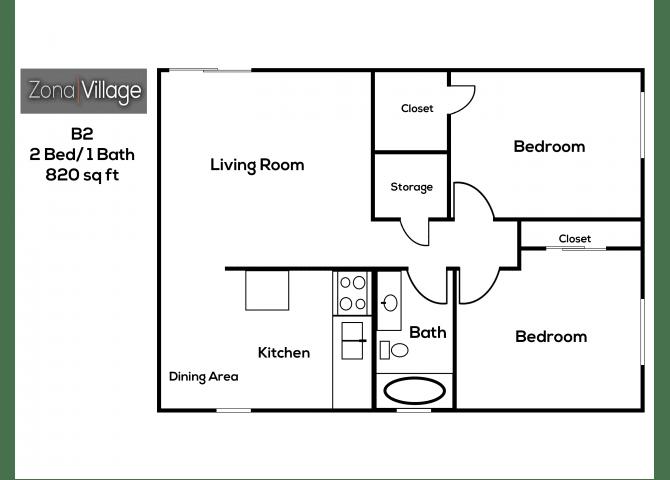 Floor Plan  2 bedroom 1 bathroom at Zona Village Apartments in Tucson, AZ, opens a dialog.