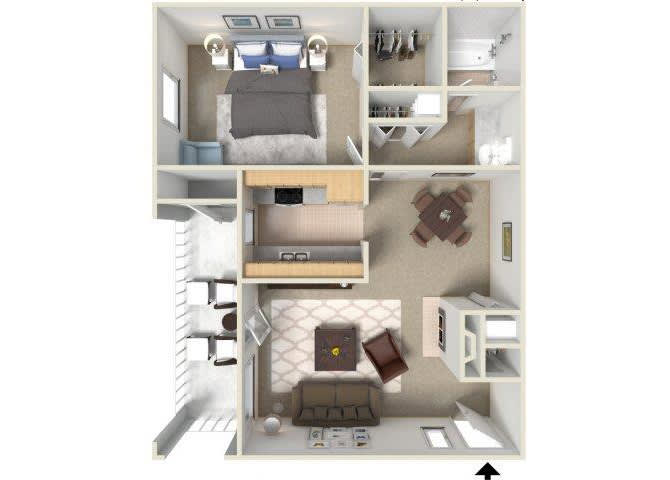 Floor Plan  Sunrise Ridge 1 bedroom 1 bathroom apartments for rent floor plan Tucson, AZ, opens a dialog.