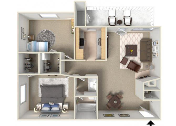 Floor Plan  Sunrise Ridge 2 bedroom 1 bathroom apartments for rent floor plan Tucson, AZ, opens a dialog.