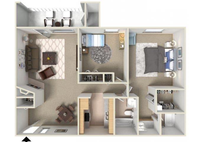 Floor Plan  Sunrise Ridge 2 bedroom 2 bathroom apartments for rent floor plan Tucson, AZ, opens a dialog.