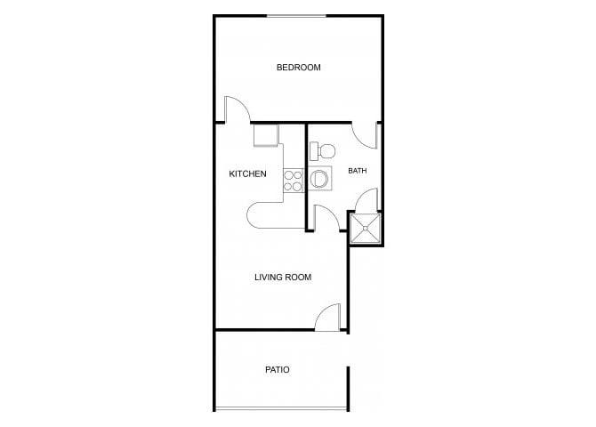 Floor Plan  1 bedroom 1 bathroom floor plan at The Regency Apartments in Tempe, AZ, opens a dialog.