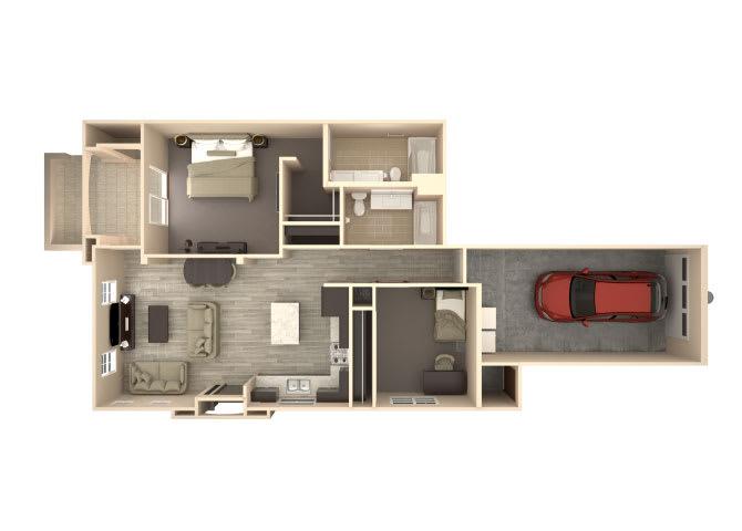 Floor Plan  Atlantis 2 bedroom 2 bathroom At Bella Victoria Apartments In Mesa, AZ, opens a dialog.