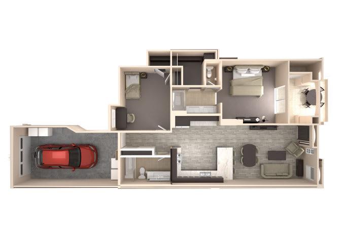 Floor Plan  Kensington 2 bedroom 2 bathroom At Bella Victoria Apartments In Mesa, AZ, opens a dialog.