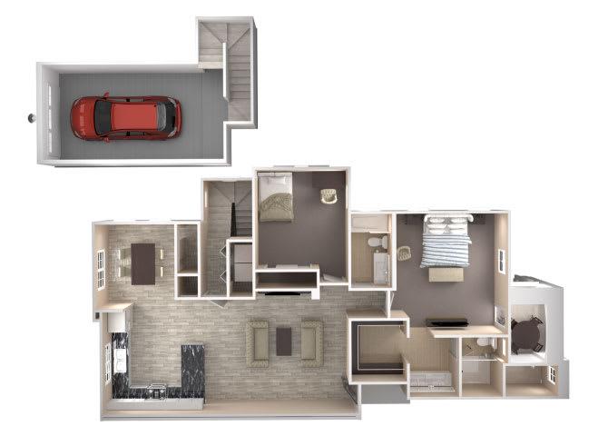 Floor Plan  Regent 2 bedroom 2 bathroom At Bella Victoria Apartments In Mesa, AZ, opens a dialog.