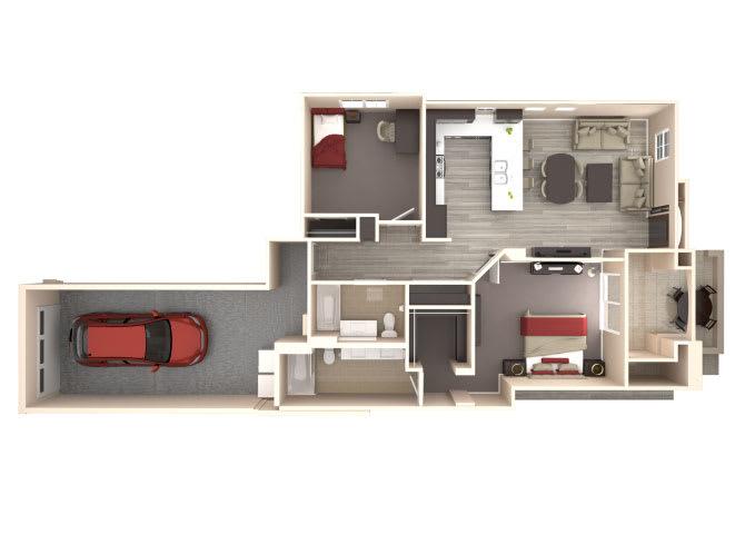 Floor Plan  Santorini 2 bedroom 2 bathroom At Bella Victoria Apartments In Mesa, AZ, opens a dialog.