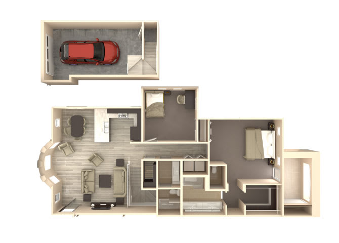 Floor Plan  Veranda 2 bedroom 2 bathroom At Bella Victoria Apartments In Mesa, AZ, opens a dialog.