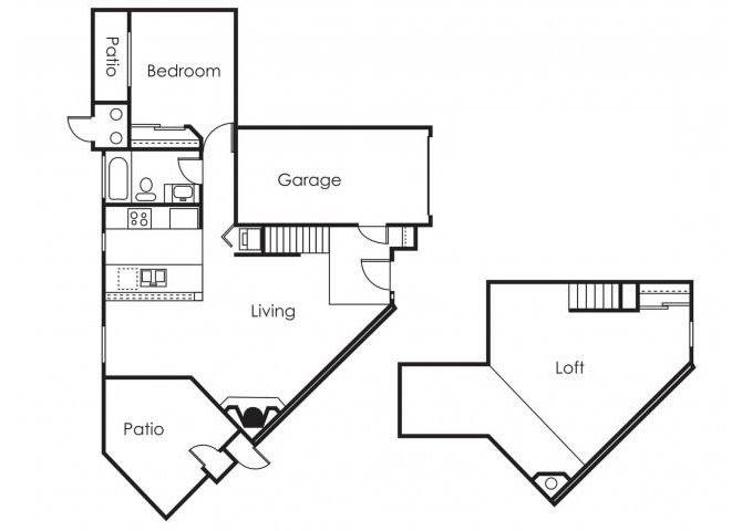 Floor Plan  1 bedroom 1 bathroom loft at Copper Point Apartments in Mesa, AZ, opens a dialog.