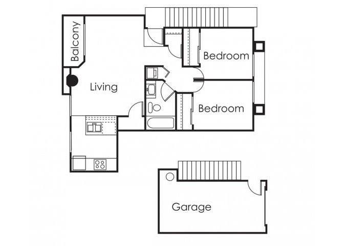 Floor Plan  2 bedroom 1 bathroom at Copper Point Apartments in Mesa, AZ, opens a dialog.