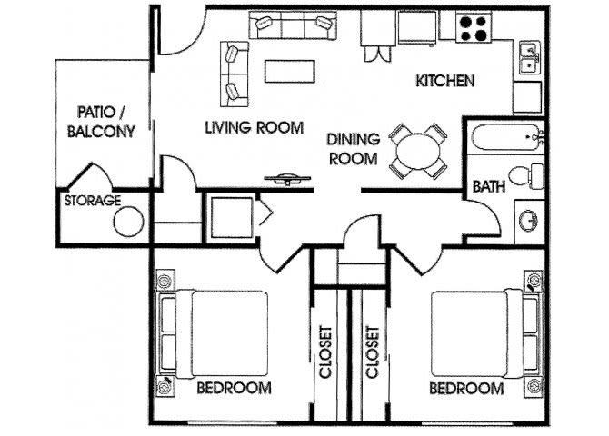 Floor Plan  2 bedroom 2 bathroom floor plan at Acacia pointe apartments in glendale az, opens a dialog.