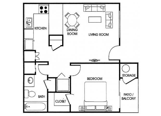 Floor Plan  1 bedroom 1 bathroom floor plan at Acacia pointe apartments in glendale az, opens a dialog.