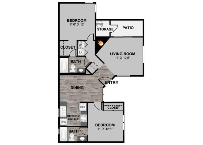 Floor Plan  2 bedroom 2 bathroom 966 sq ft floor plan at 255 North Apartments in Tucson, AZ, opens a dialog.