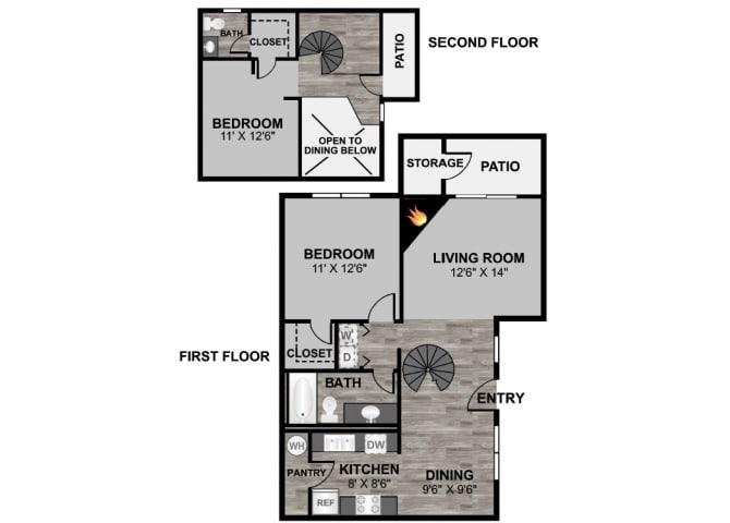 Floor Plan  2 bedroom 2 bathroom loft 1017 sq ft floor plan at 255 North Apartments in Tucson, AZ, opens a dialog.