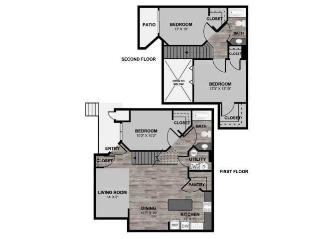 Floor Plan  3 bedroom 2 bathroom loft 1338 floor plan at 255 North Apartments in Tucson, AZ, opens a dialog.