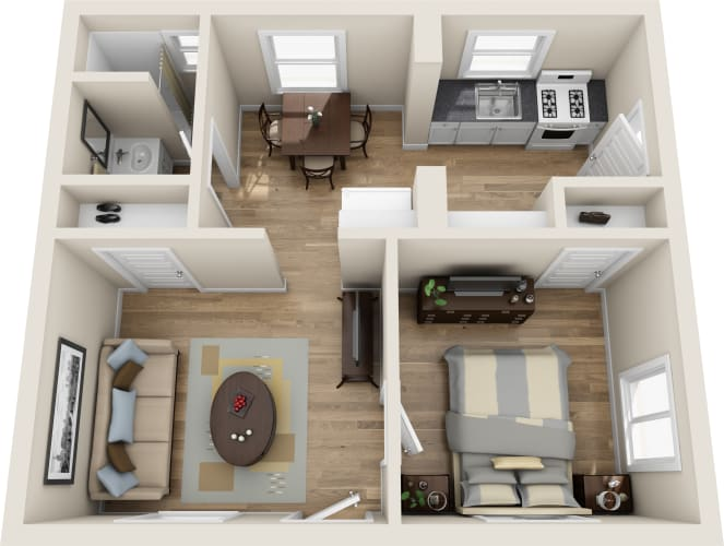 Floor Plan  1 bed 1 bath, opens a dialog.