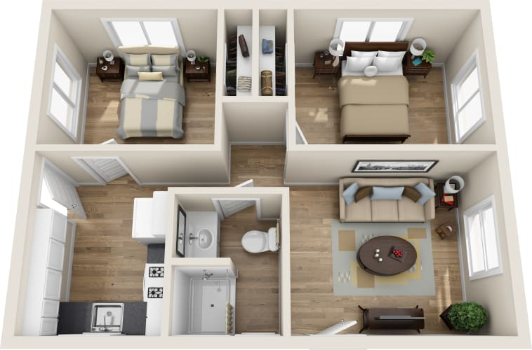 Floor Plan  2 bed, 1 bath, opens a dialog.