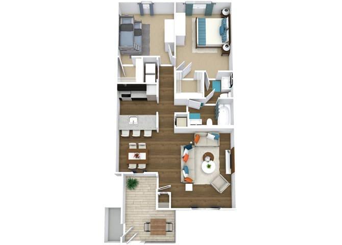 Floor Plan  2 Bedroom 1.5 Bathroom Floor Plan