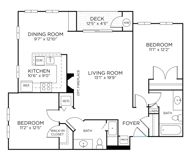 Floor Plan  BROOKEVILLE Two Bedrooms/ Two Bathrooms (bc3), opens a dialog.