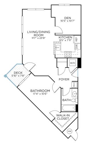 Floor Plan  SANDOR One Bedroom/ One Bathroom  with Den (aad1), opens a dialog.