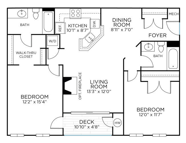 Floor Plan  SENECA RENOVATED - Two Bedrooms/ Two Bathrooms (bc1r), opens a dialog.