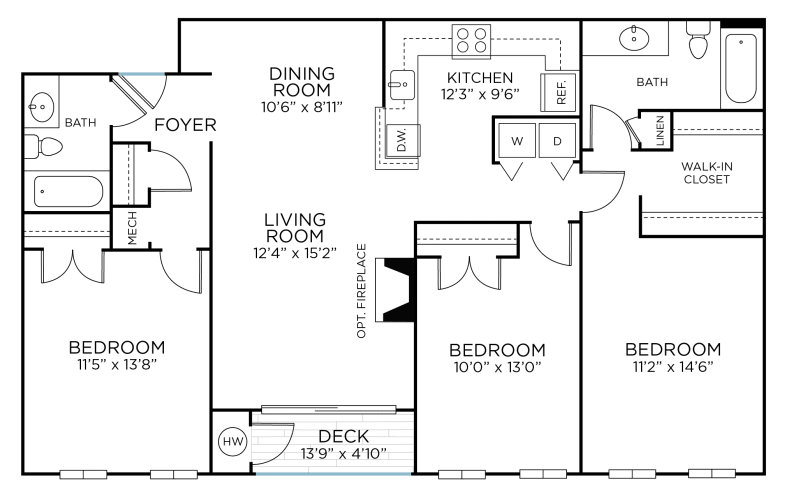 Floor Plan  SUGARLOAF Three Bedrooms/ Two Bathrooms (cc1), opens a dialog.