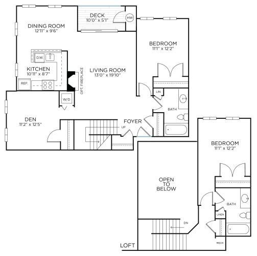 Floor Plan  WARREN RENOVATED - Two Bedrooms/ Two Bathrooms Den/Loft (bcd1r), opens a dialog.