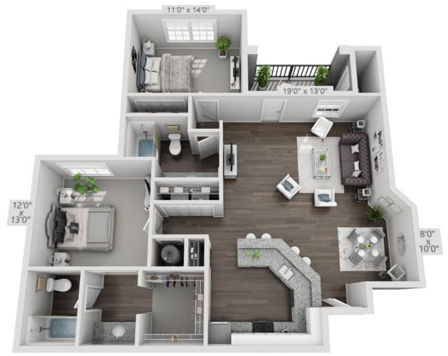 Floor Plan  two bedroom two bath floorplan 2A, opens a dialog.
