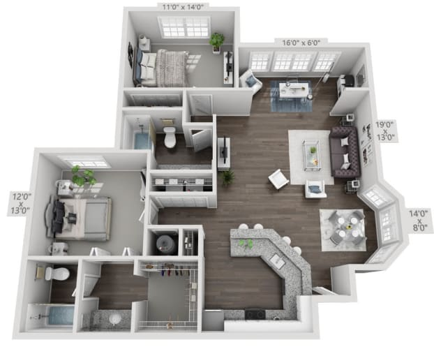 Floor Plan  two bedroom two bath floorplan 2B1, opens a dialog.