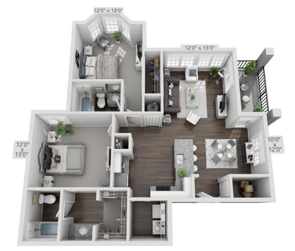 Floor Plan  two bedroom two bath floorplan 2C, opens a dialog.