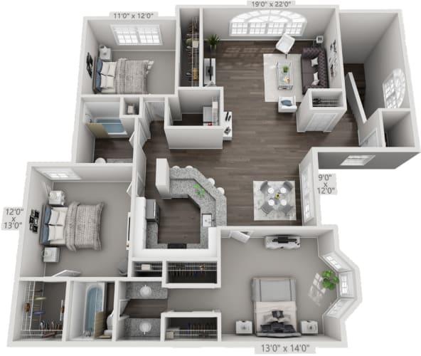 Floor Plan  3 bedroom upstairs floorplan, opens a dialog.