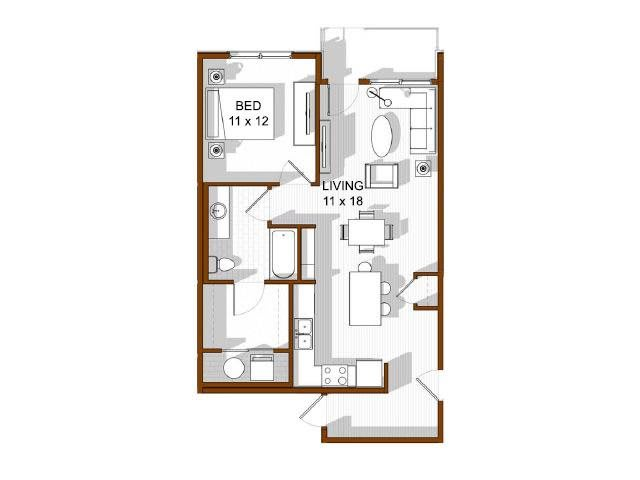 Floor Plan  North Main at Steel Ranch l 1x1 Apartments in Louisville Ca, opens a dialog.