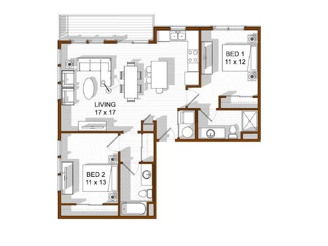 Floor Plan  North Main at Steel Ranch l  2 Bedroom Apartments in Louisville CO, opens a dialog.