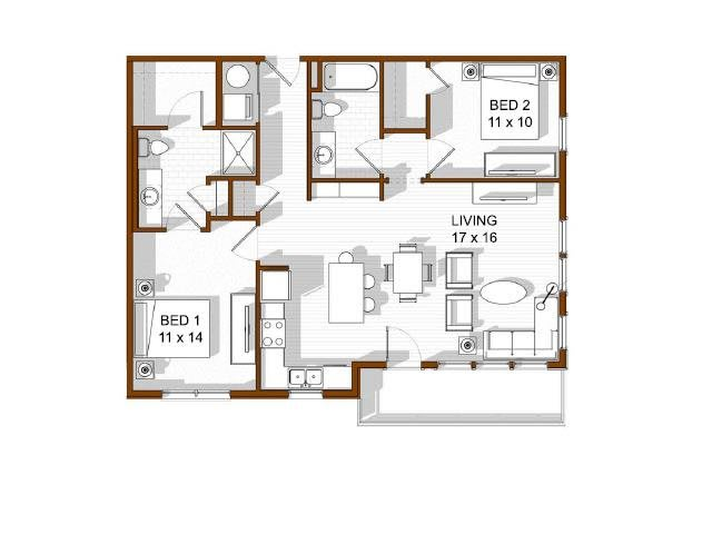 Floor Plan  North Main at Steel Ranch l  2 bedroom Apartments  for rent in Louisville CO, opens a dialog.