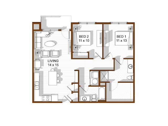 Floor Plan  North Main at Steel Ranch l  2x2 Apartments in Louisville CO, opens a dialog.