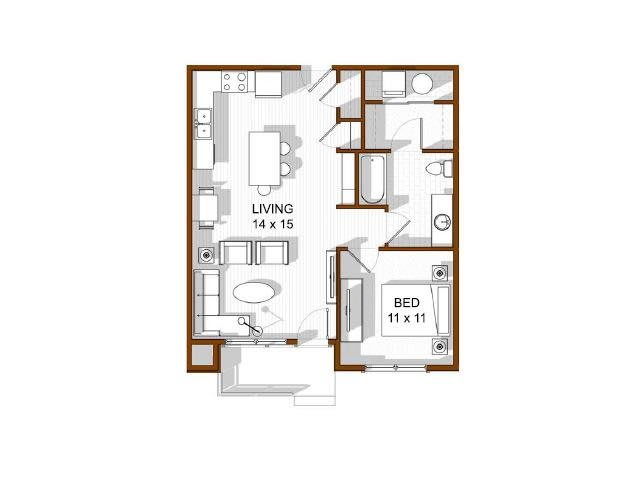 Floor Plan  North Main at Steel Ranch l One bedroom Apartments in Louisville CO, opens a dialog.