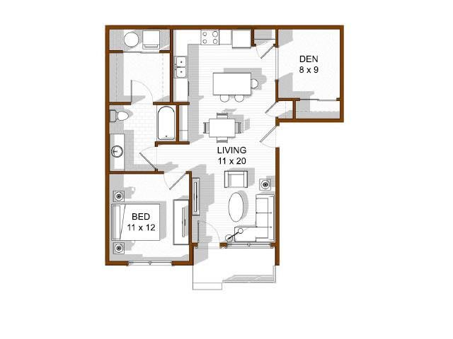 Floor Plan  One Bedroom Rentals North Main at Steel Ranch l Apartments in Louisville CO, opens a dialog.