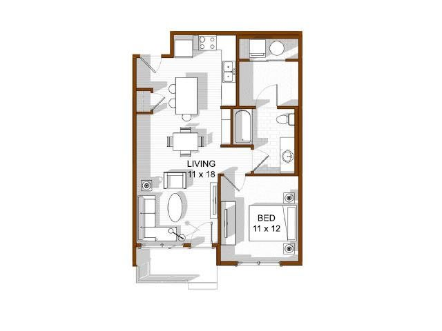 Floor Plan  North Main at Steel Ranch l  1x1 Apartments in Louisville CO, opens a dialog.