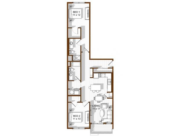 Floor Plan  2 Bedroom North Main at Steel Ranch l Apartments in Louisville CO, opens a dialog.