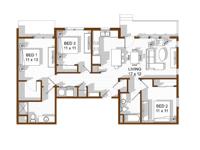 Floor Plan  North Main at Steel Ranch l 3 bedroom Apartments in Louisville CO, opens a dialog.
