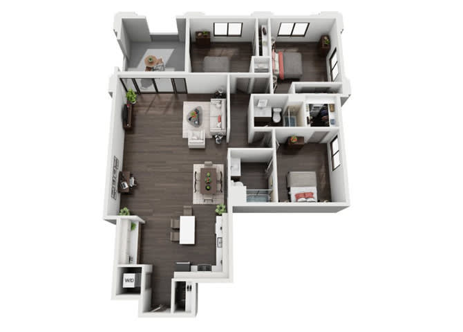 Three Bedroom, Two Bath Floor Plan at The Mansfield at Miracle Mile, California