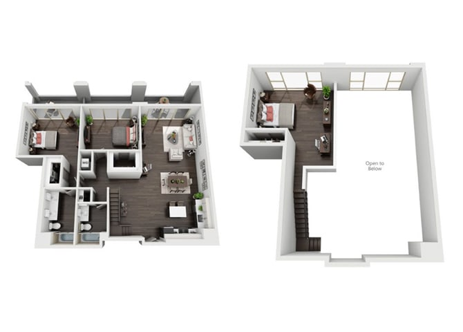 3 Bedroom, 2.5 Bath Loft Penthouse Floor Plan at The Mansfield at Miracle Mile, Los Angeles, CA