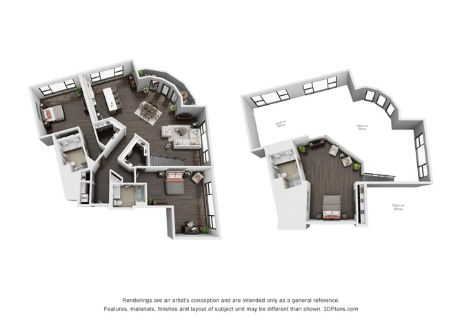 Three Bedroom, Three Bath Loft Floor Plan at The Mansfield at Miracle Mile, Los Angeles, 90036