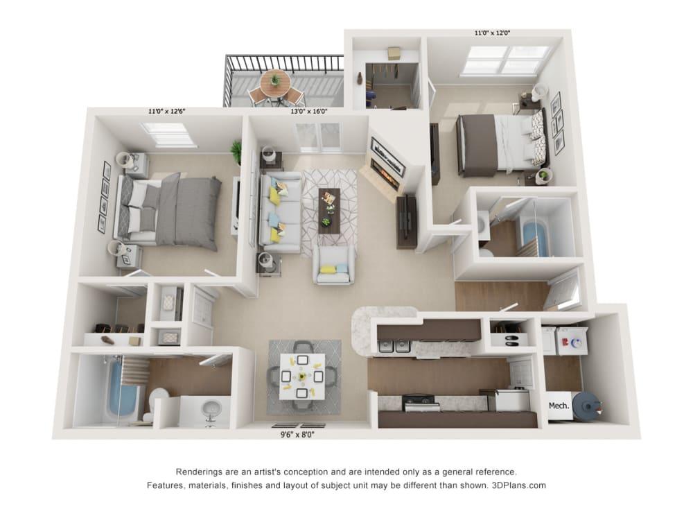 Oak 2Bed_2Bath at River Oak Apartments, Kentucky, 40206
